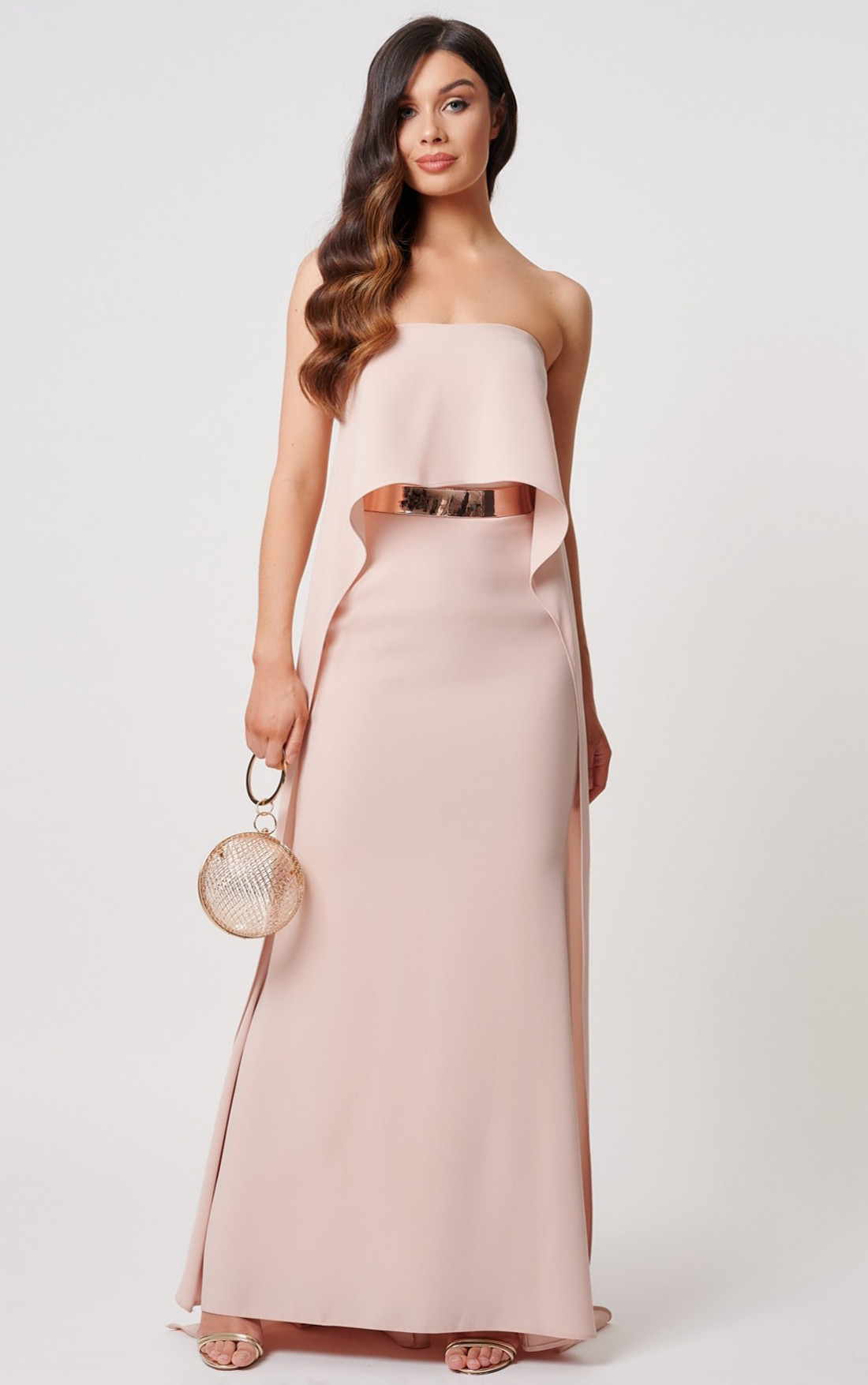 Forever Unique - Elizabeth Nude Bardot Cape Maxi Dress With Gold Belt (MN208904)
