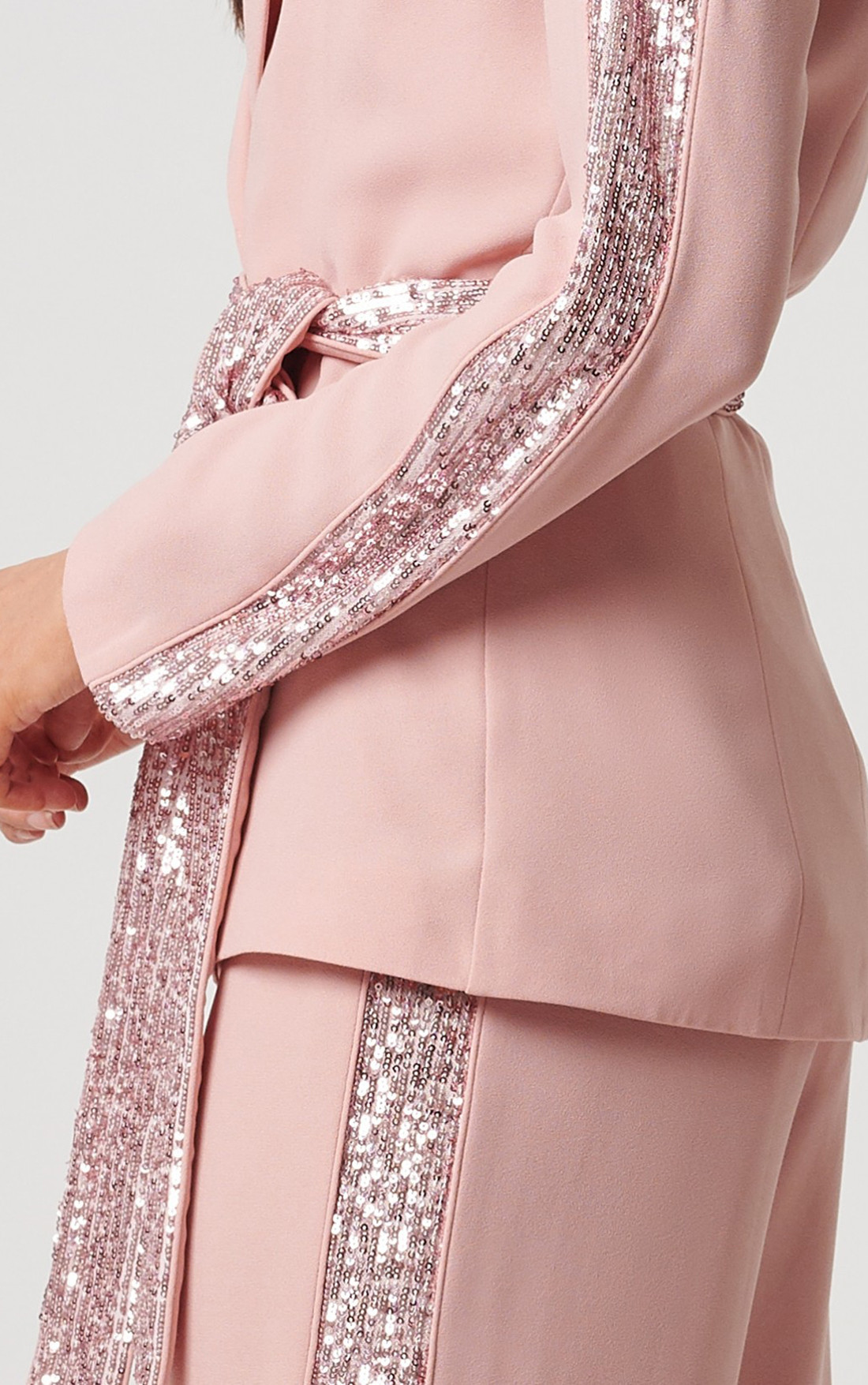 Forever Unique - Atlantis Rose Blazer Jacket With Sequined Striped Detailing (MN209720)