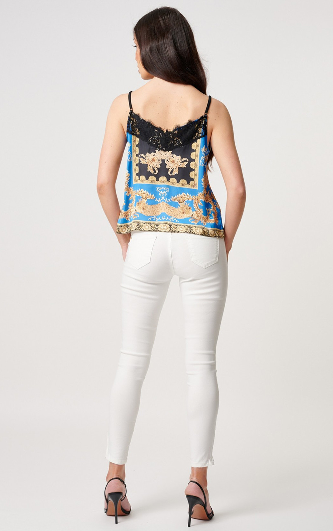 Forever Unique - Marine Baroque Print Camisole Top With Lace Trimming (MN209724)