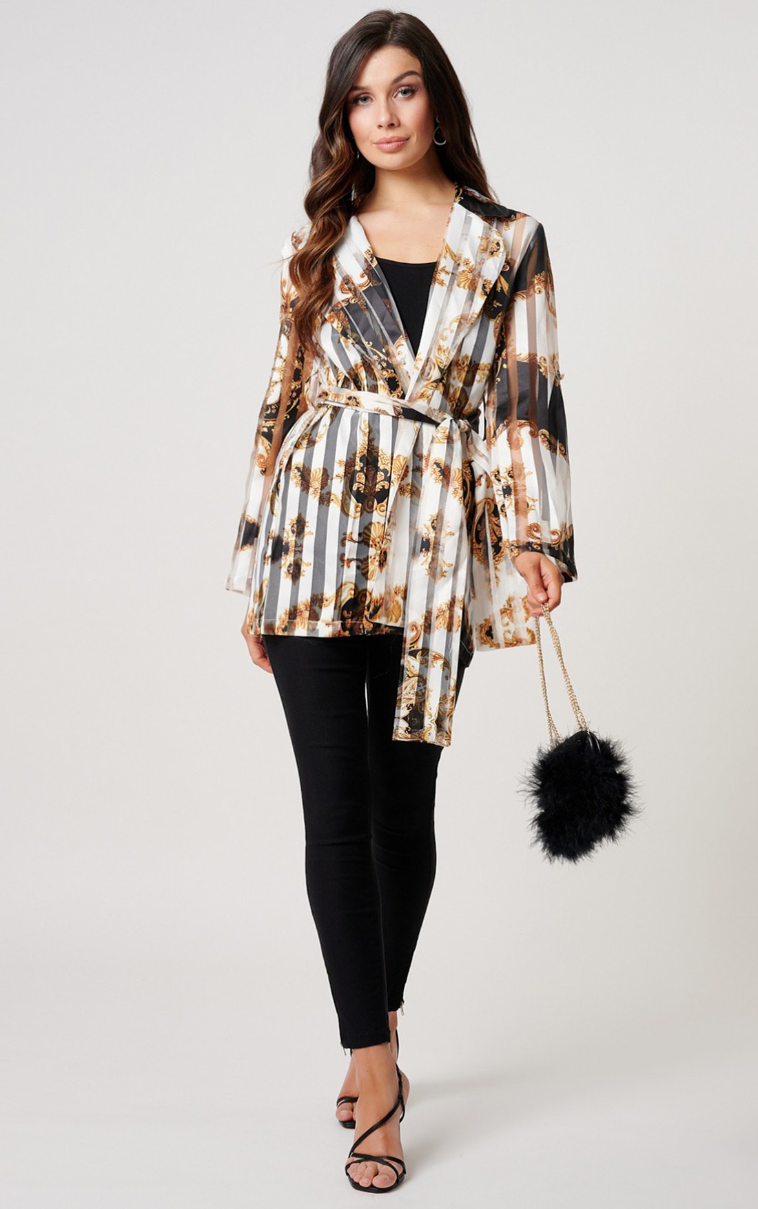 Forever Unique - Frankie Baroque Print Jacket With Waisted Belt (MN209727)