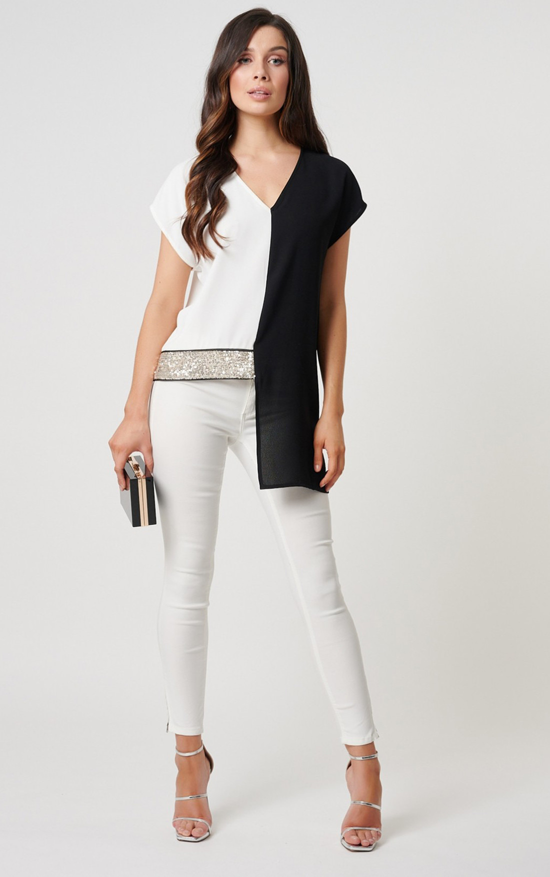 Forever Unique - Carey Monochrome Split Detail Top With Sequin Embellishments (MN209749)