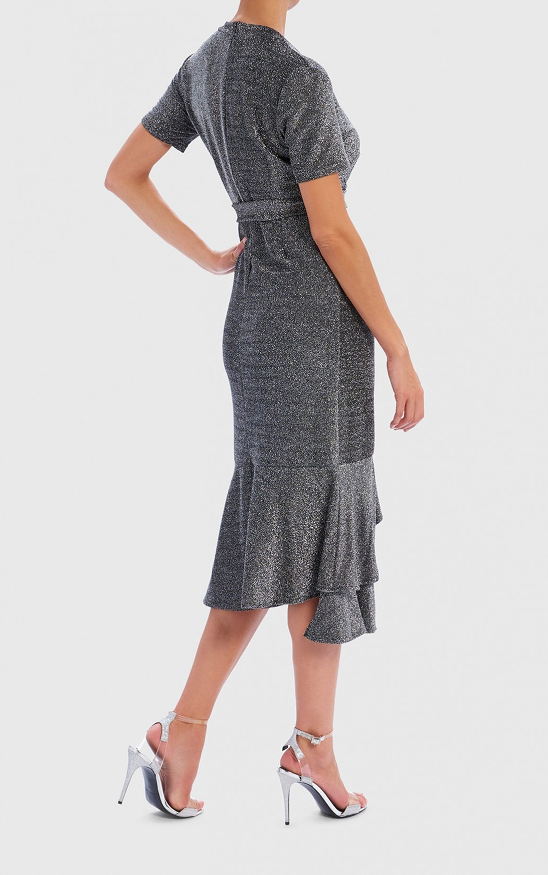 Forever Unique - Adella Silver Wrap Dress with Ruffle and Tie Detail (WF9503)