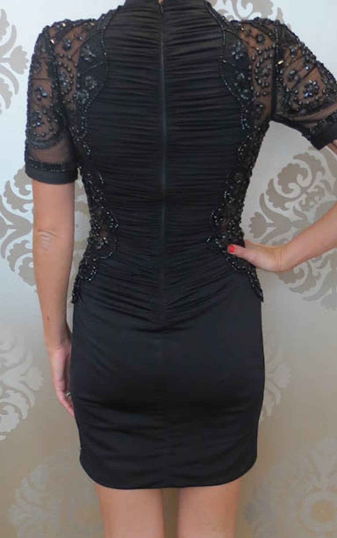 Forever Unique - Reyna Black Embellished Cocktail Dress (WF1403)