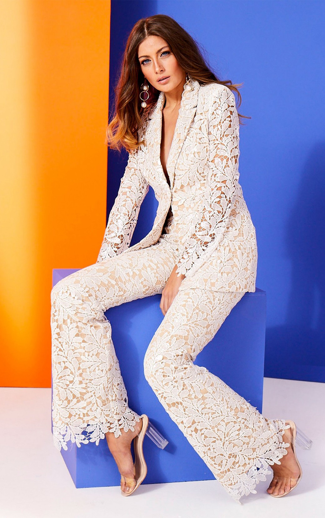 Forever Unique - Serena White And Nude Floral Sequin Sheer Blazer Jacket (AF1106)