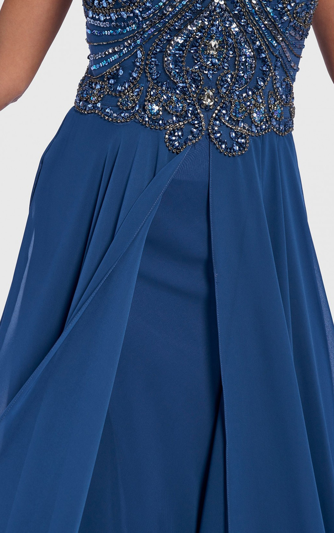 Forever Unique - Jakku Blue Embellished Halter-Neck Maxi Dress (AF0701)
