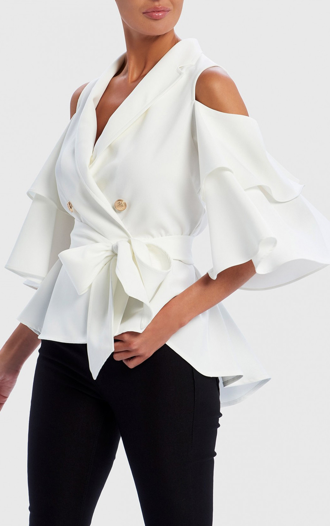 Forever Unique - Romilly White Cold-Shoulder Ruffle Jacket With Waist Belt (AF9727)