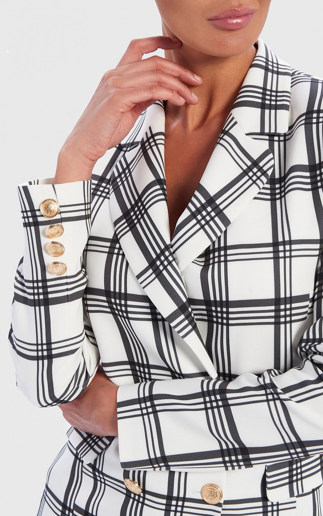 Forever Unique - Alaia White Check Print Tailored Blazer (AF9001)