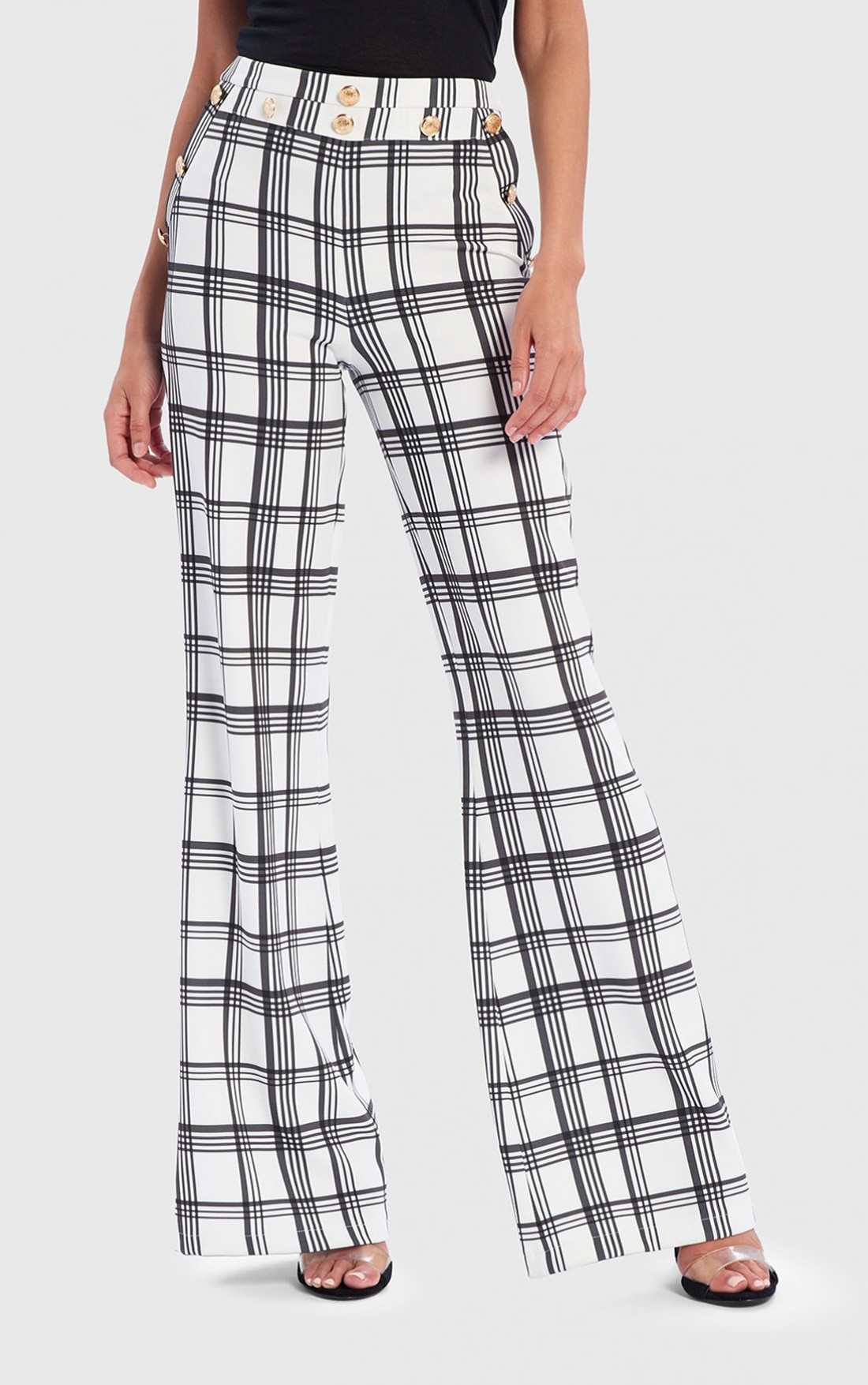 Forever Unique - Mai White Check Print Wide Leg Trousers (AF9002)