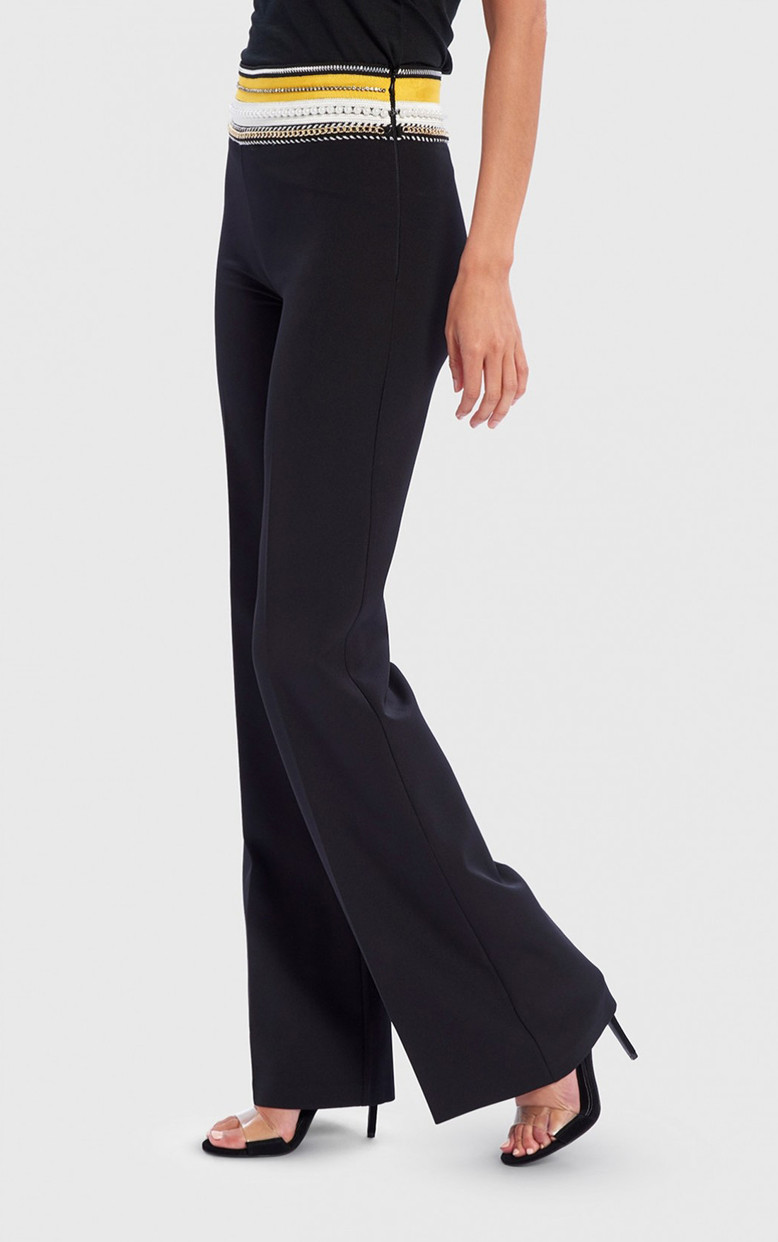 Forever Unique - Wilder Black Tailored Suit Trousers With Yellow Embellished Waistband (AF9711)