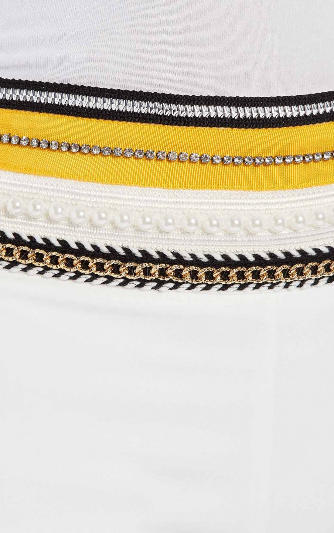 Forever Unique - Wilder White Tailored Suit Trousers With Yellow Embellished Waistband (AF9711)