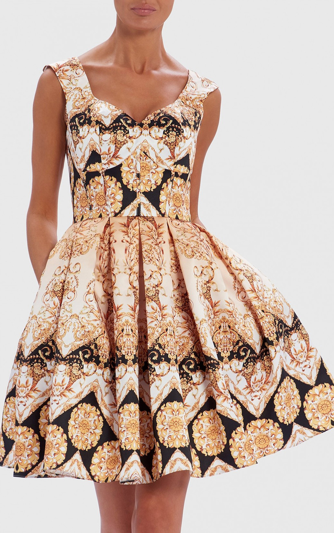 Forever Unique - Palo Black And Gold Baroque Print Skater Dress (AF0305)