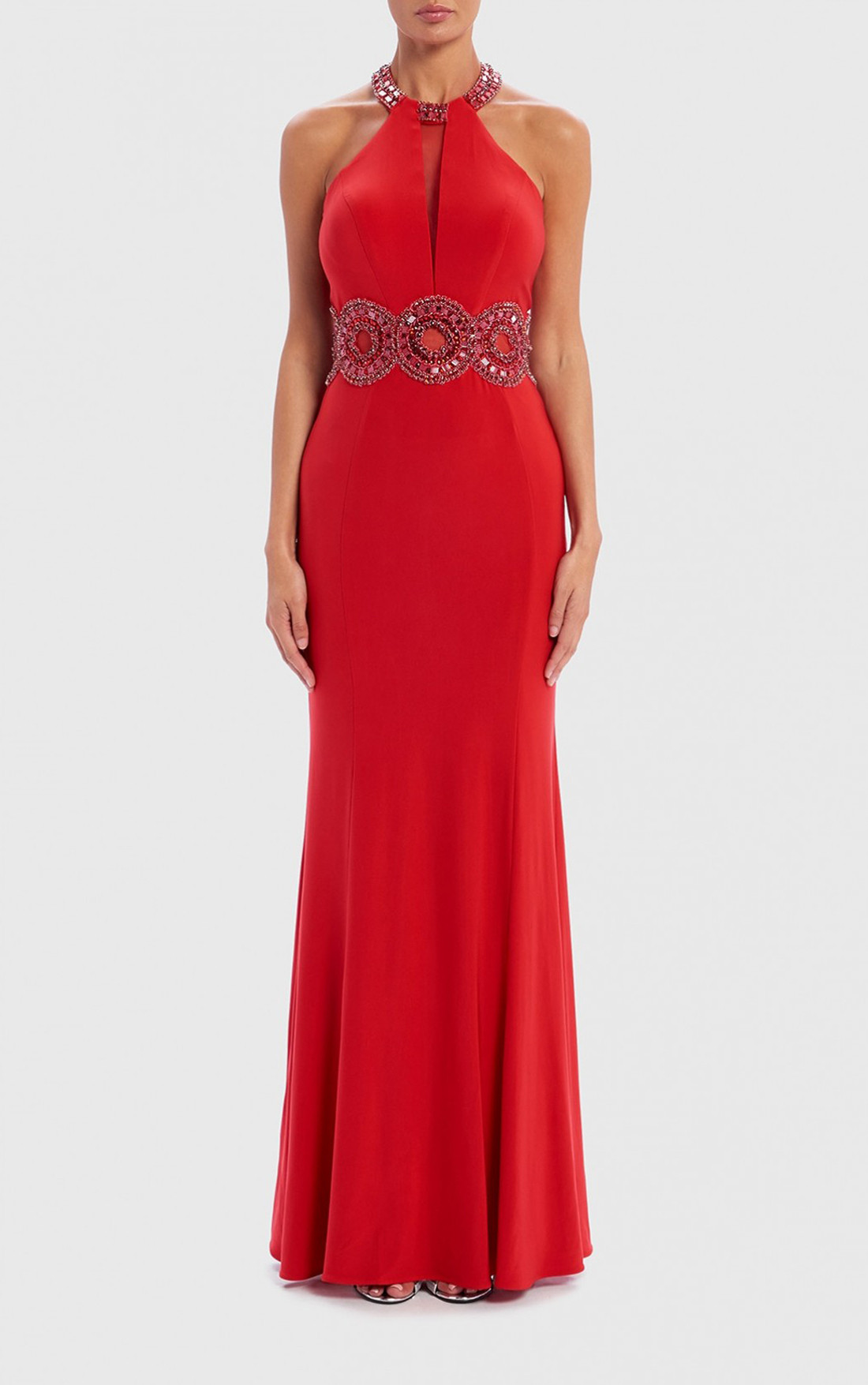 Forever Unique - Heidi Red Jewel Embellished Halter Maxi Evening Dress (AF0915)