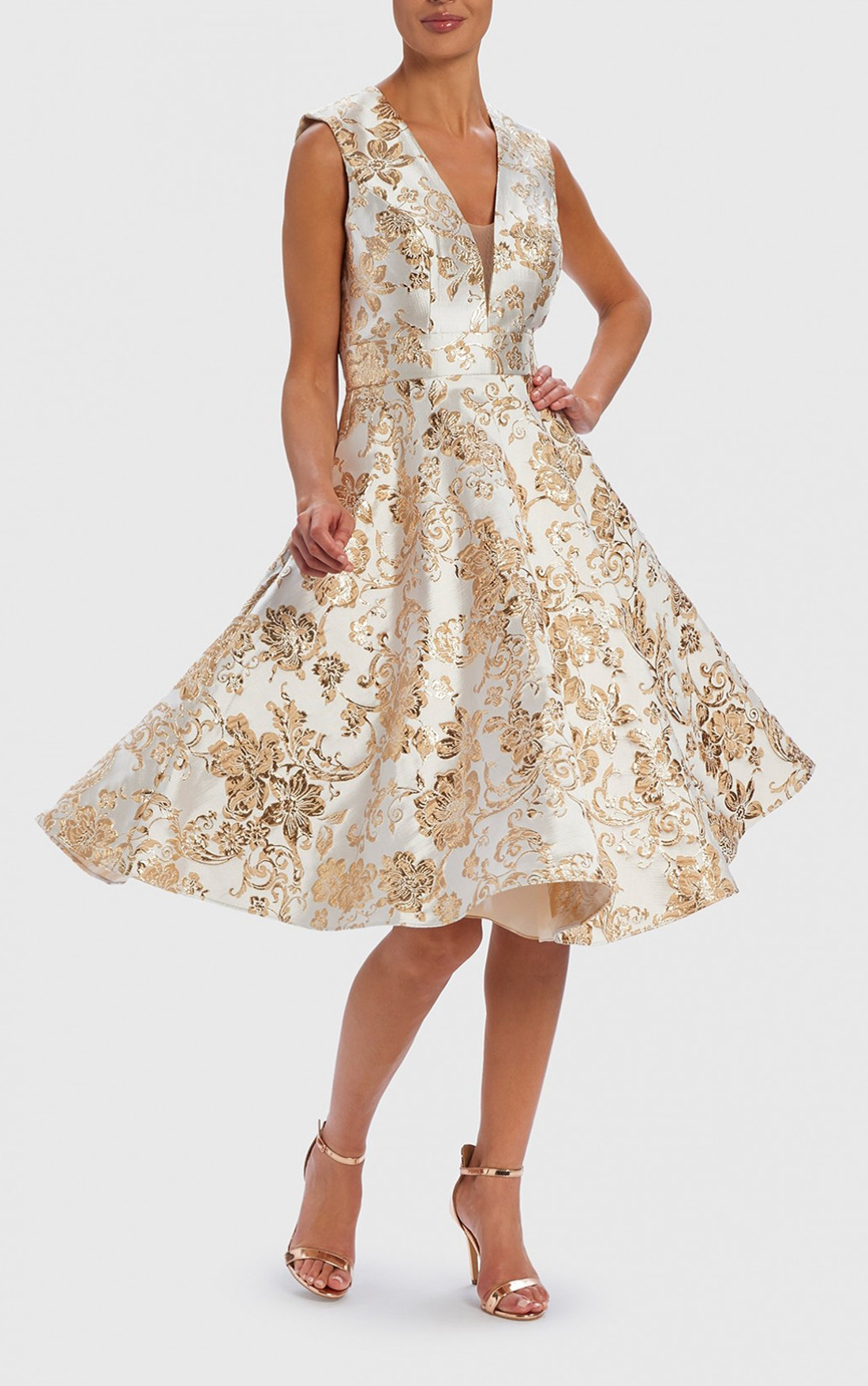 Forever Unique - Miranda White And Gold Floral Jacquard Skater Dress (AF0908)