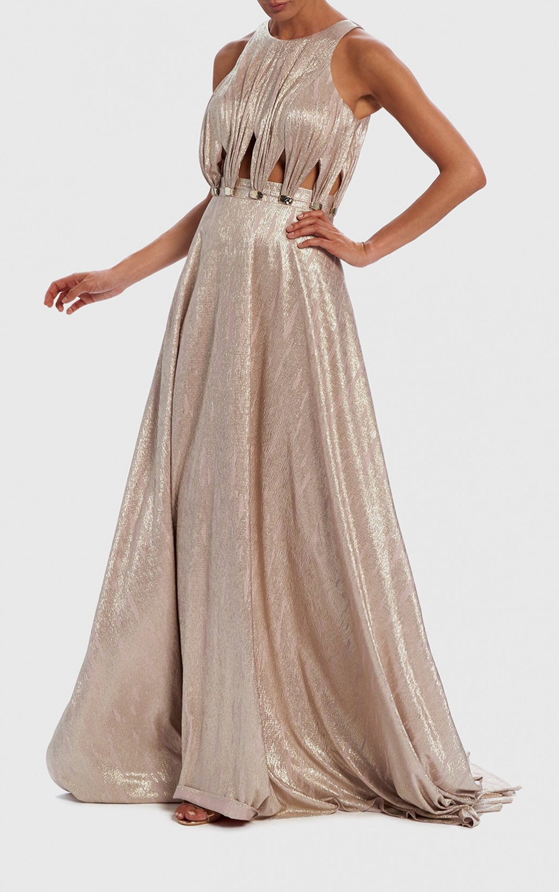 Forever Unique - Jombe Champagne Metallic Cut-Out Evening Dress (AF8902)