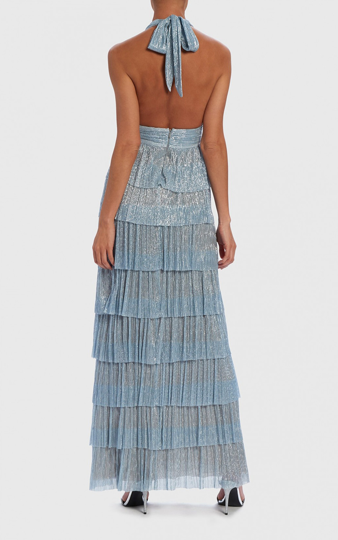 Forever Unique - Marleen Metallic Blue Shimmer Tiered Ruffle Maxi Dress (AF9724)