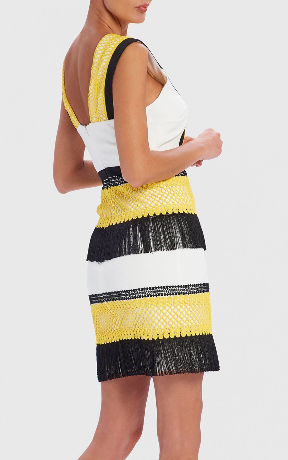 Forever Unique - Frances Yellow, Black And White Tassel Shift Mini Dress (AF9713)