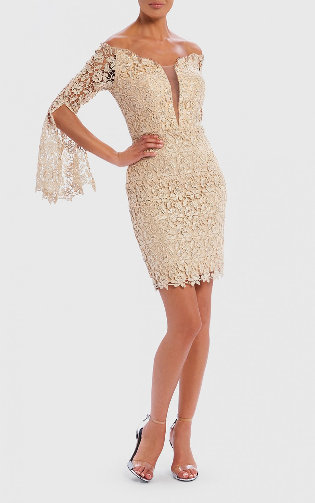 Forever Unique - Apollo Gold Decollete Lace Embroidered Mini Dress (AF8906)