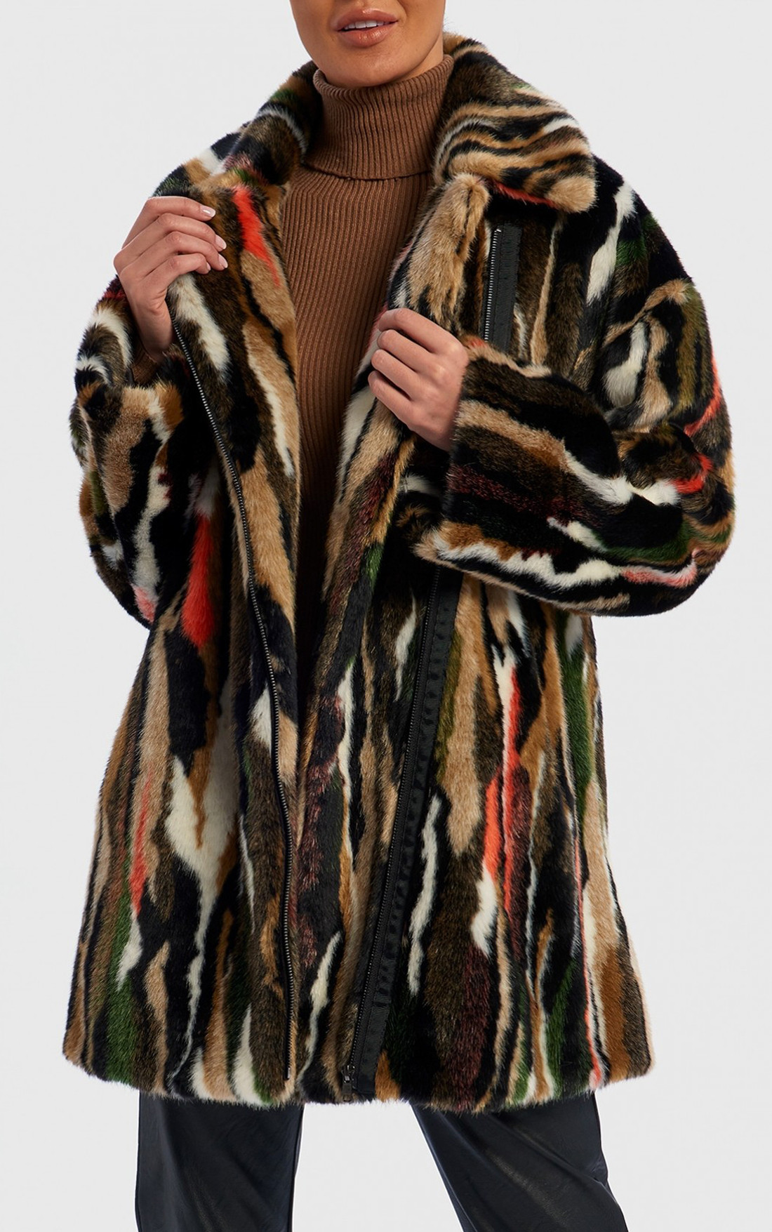 Forever Unique - Aylin Brown And Red Brush Stroke Faux Fur Coat (TJ5302)