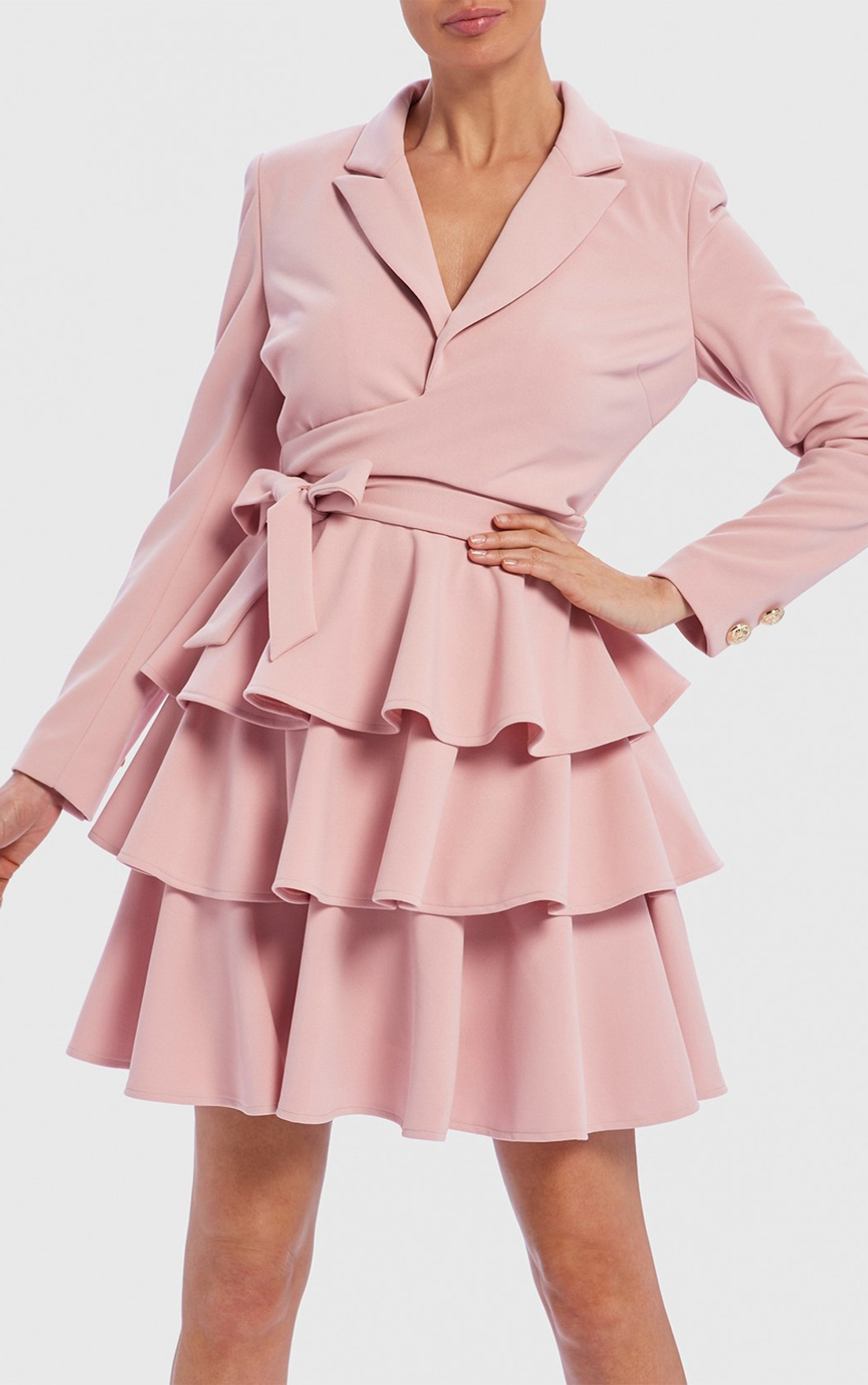 Forever Unique - Trixe Pink Long Sleeve Tiered Ruffle Blazer Wrap Dress (TJ9303)