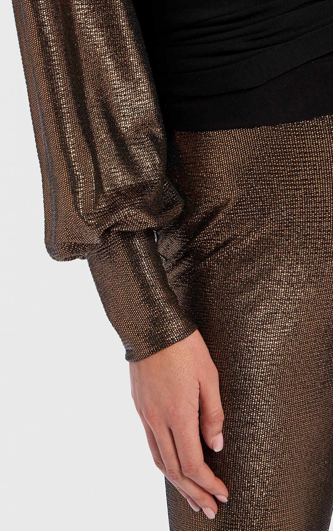 Forever Unique - Remie Metallic Gold And Black Long Sleeve Wrap Top (TJ9709)