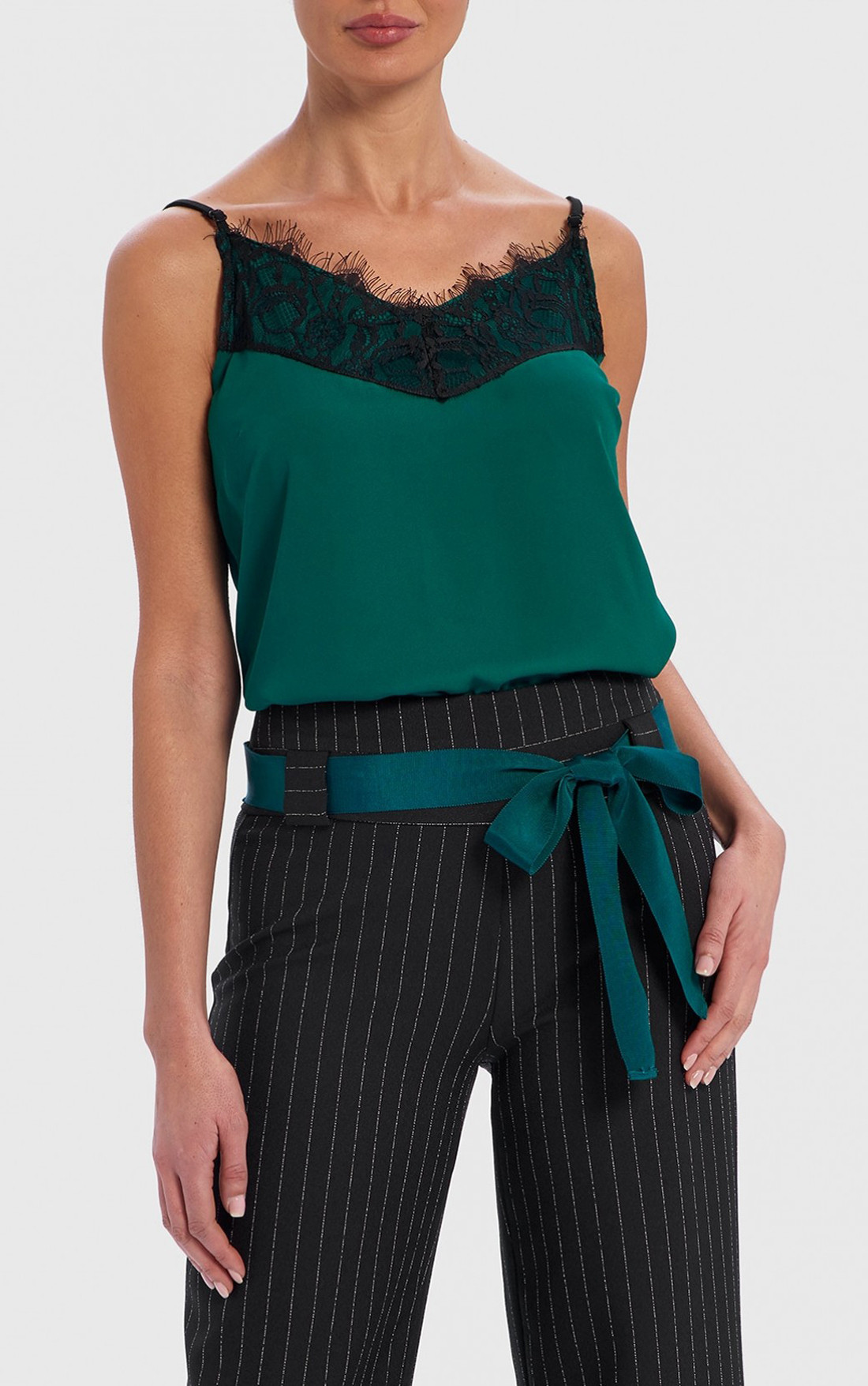 Forever Unique - Casey Green Camisole Top with Lace Trim (TJ9722)