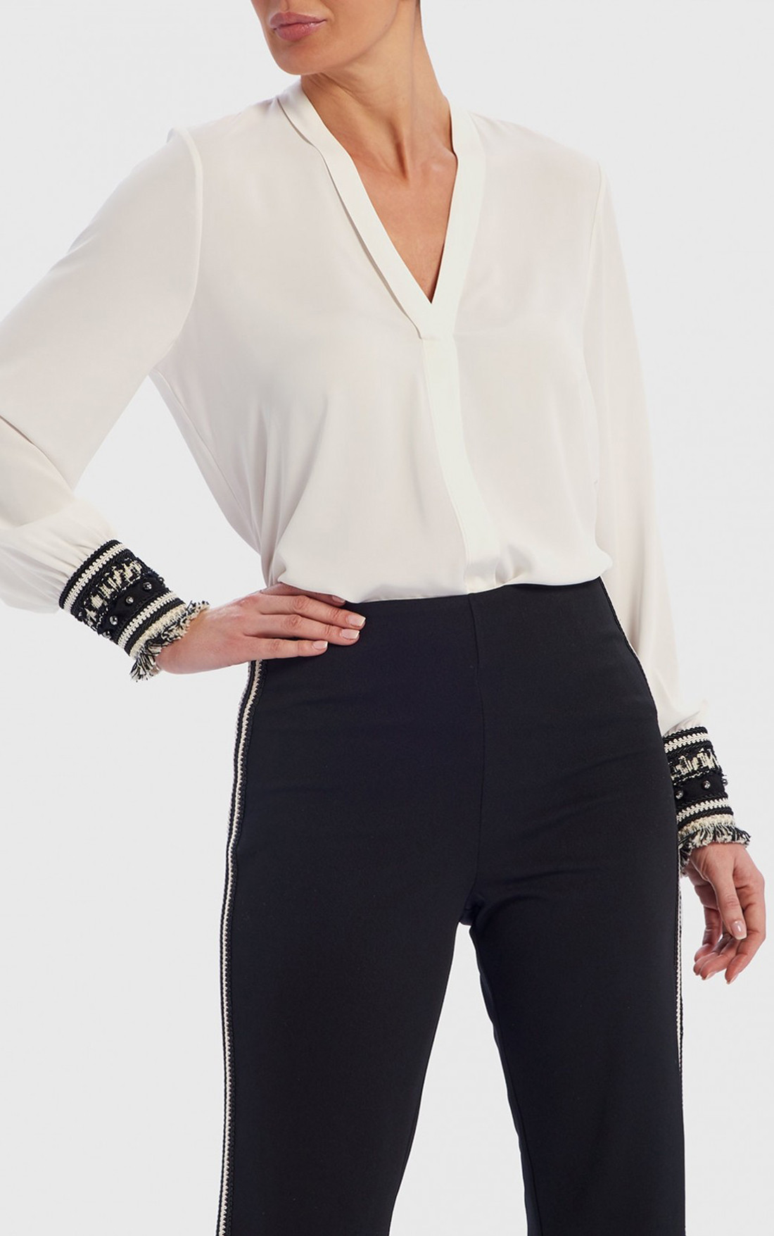 Forever Unique - Carrie White Blouse With Monochrome Tasseled Cuffs (TJ9733)