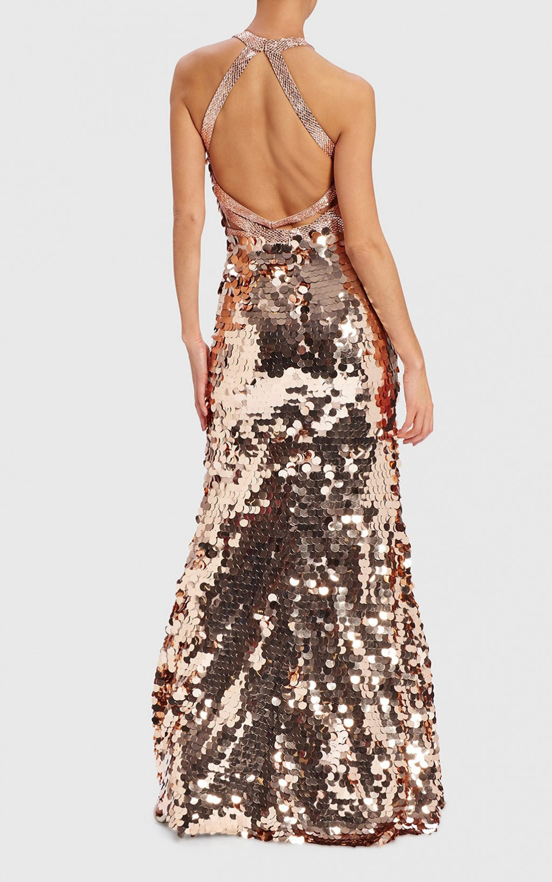 Forever Unique - Masey Rose Gold Sequinned Backless Evening Gown (WF1901)