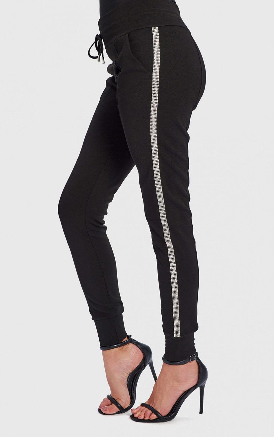 Forever Unique - Hexa Black Low Rise Track Pants With Silver Side Stripe (WF4902)