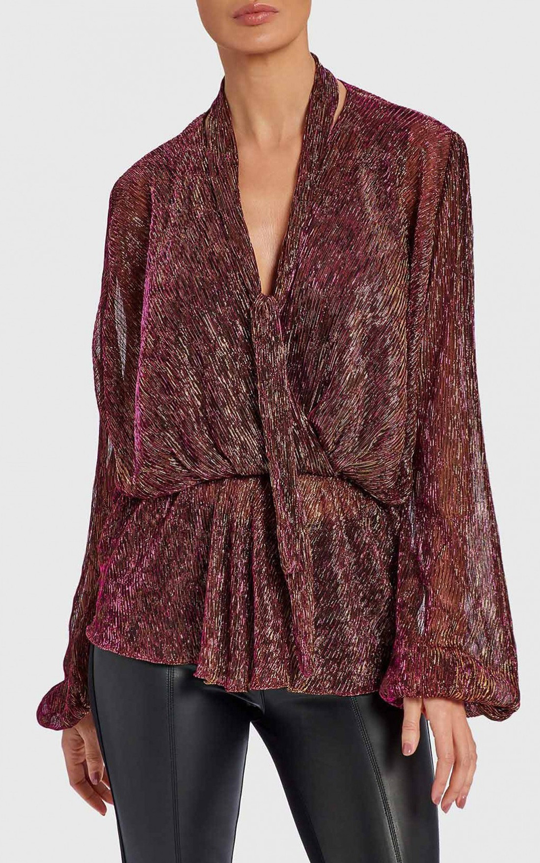 Forever Unique - Thelma Magenta Blouse with Slender Neck Ties and Balloon Sleeves (WF5001)