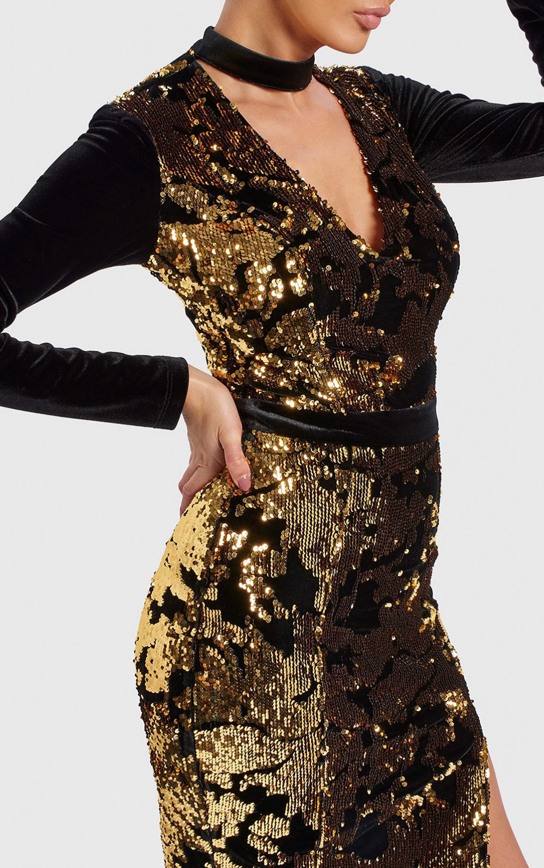 Forever Unique - Glow Black And Gold Velvet Sequin Midi Dress (WF8613)