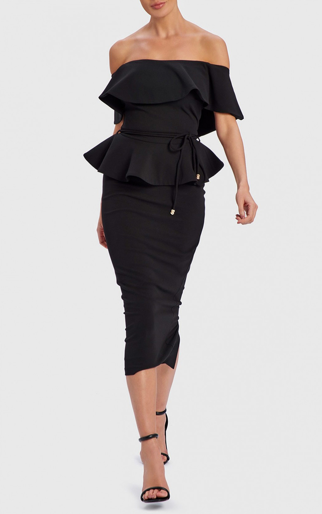 Forever Unique - Deanna Black Off-Shoulder Peplum Midi Dress (WF9002)