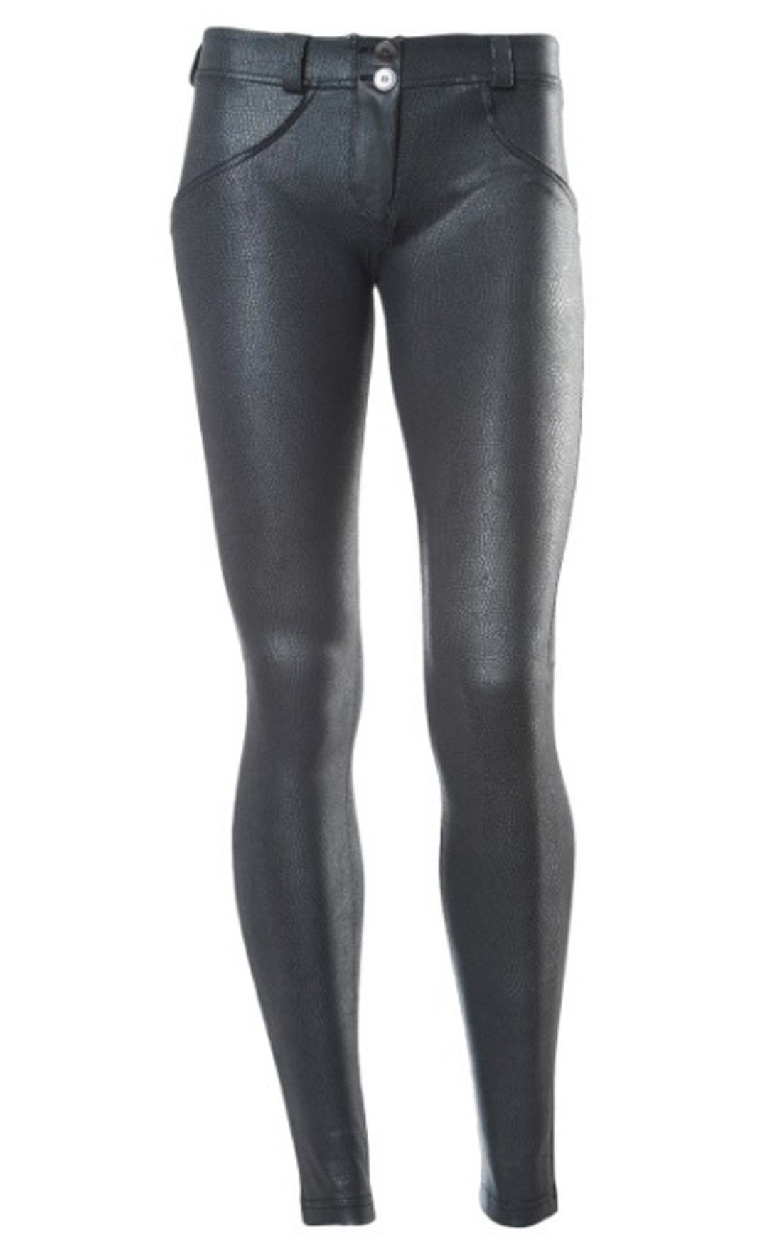 Freddy - Wr.Up® Shaping Effect Mid Waist Skinny Faux Leather Snake Leggings Black (WRUP1RX03E_N)