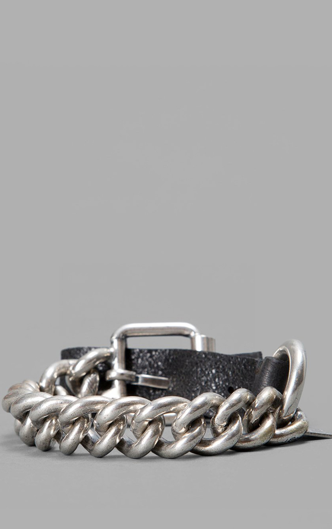 Goti - Black Leather Bracelet with Silver Chain (BR513)