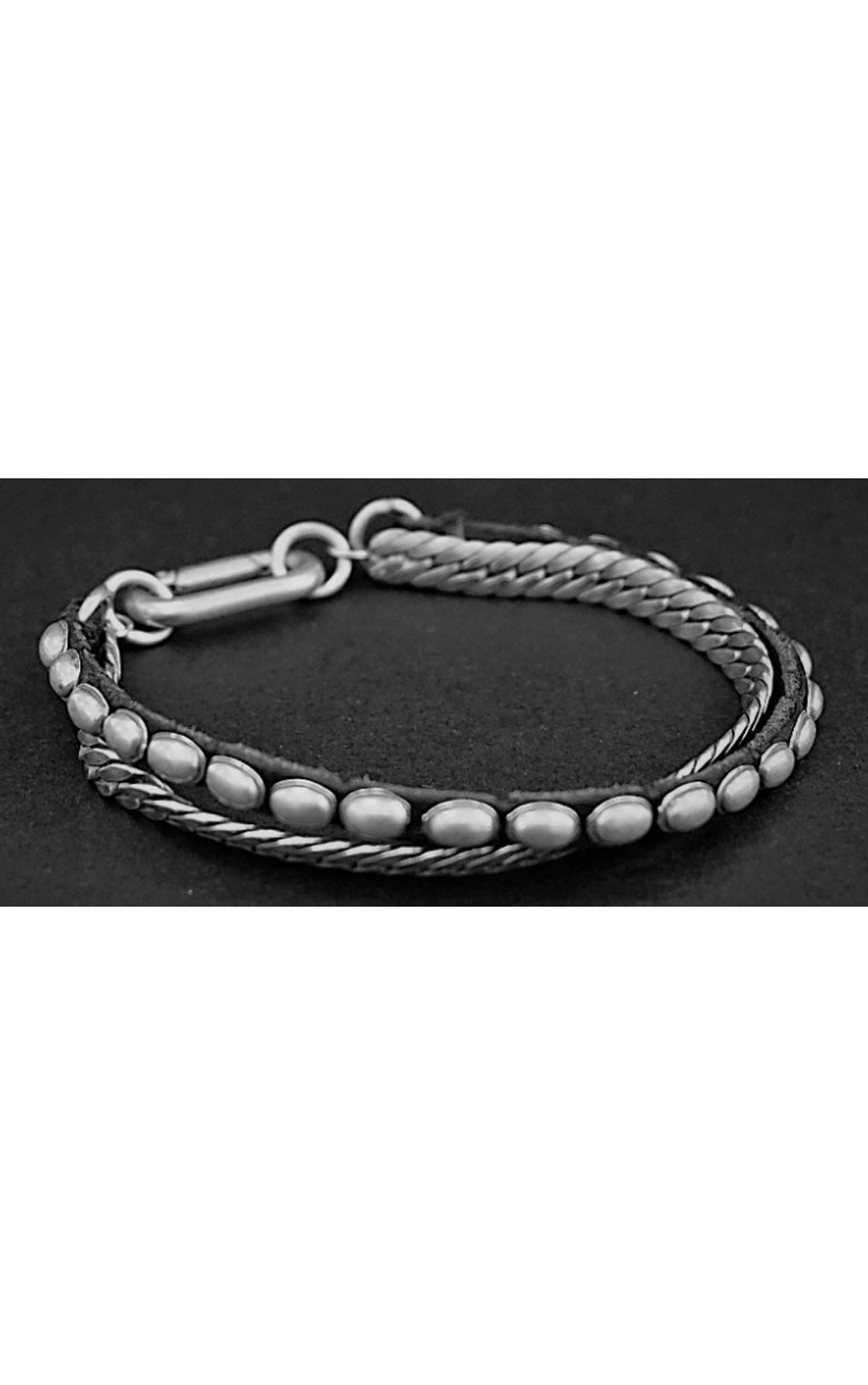 Goti - Double Silver Bracelet with Leather (BR1212)