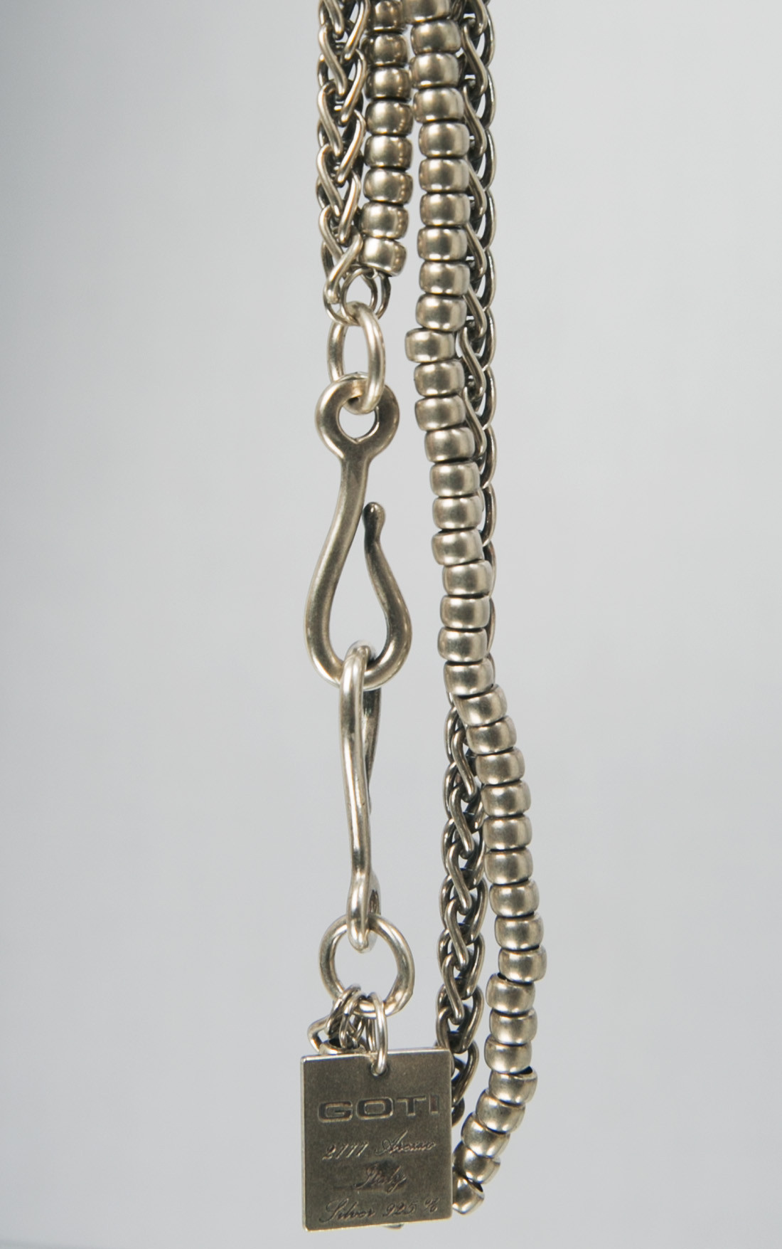 Goti - Long Double Silver Necklace with Multi Pendants (CN1058)