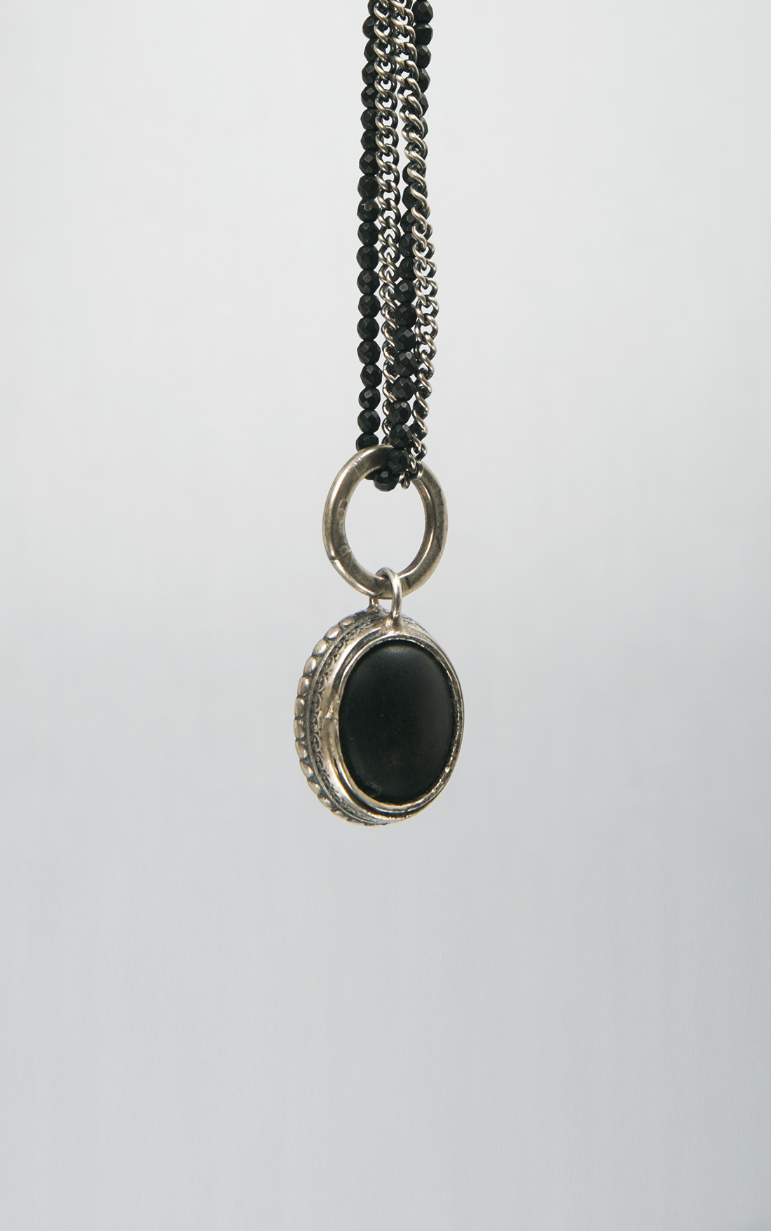Goti - Double Silver and Black Beaded Necklace with Pendant (CN1172)