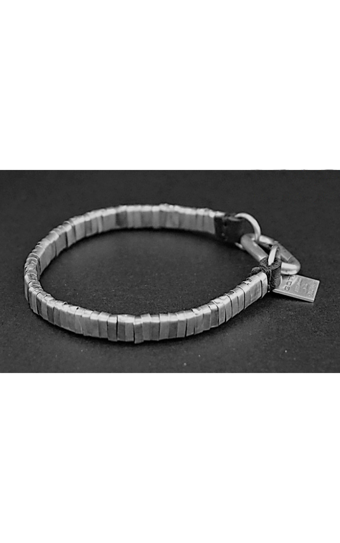 Goti - Silver Bracelet with Leather (BR1206)