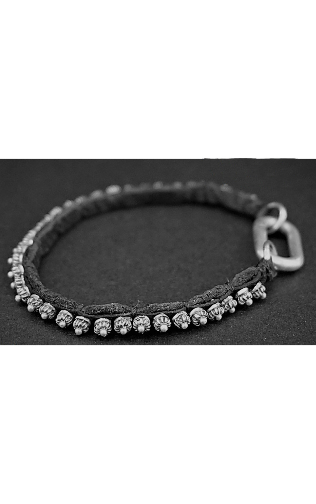 Goti - Silver Bracelet with Leather (BR1213)