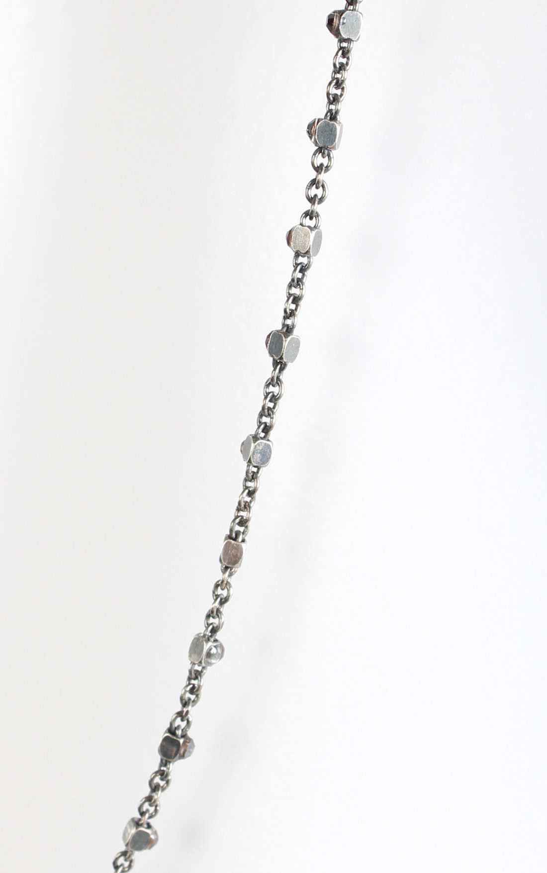 Goti - Thin Long Silver Necklace with Black Crystals (CN1030)