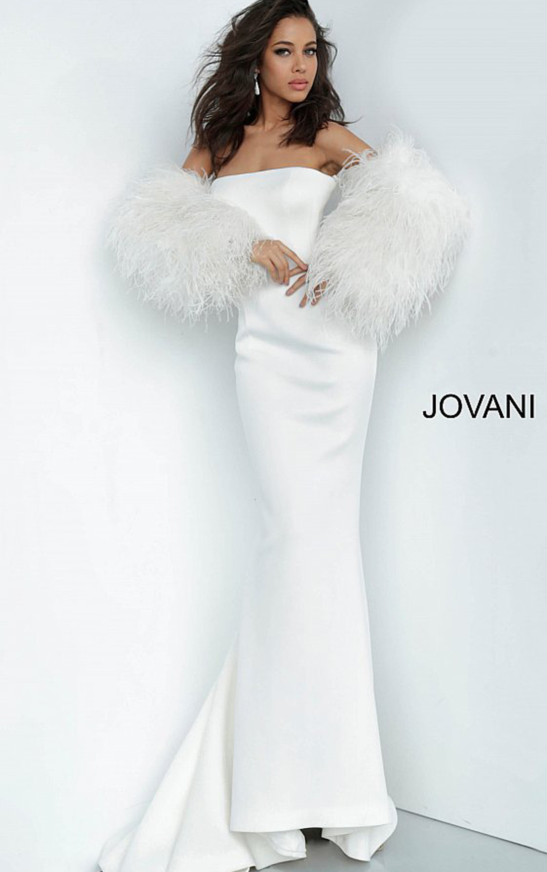 Jovani - White Strapless Scuba Gown with Ostrich Feather Sleeves (1226)
