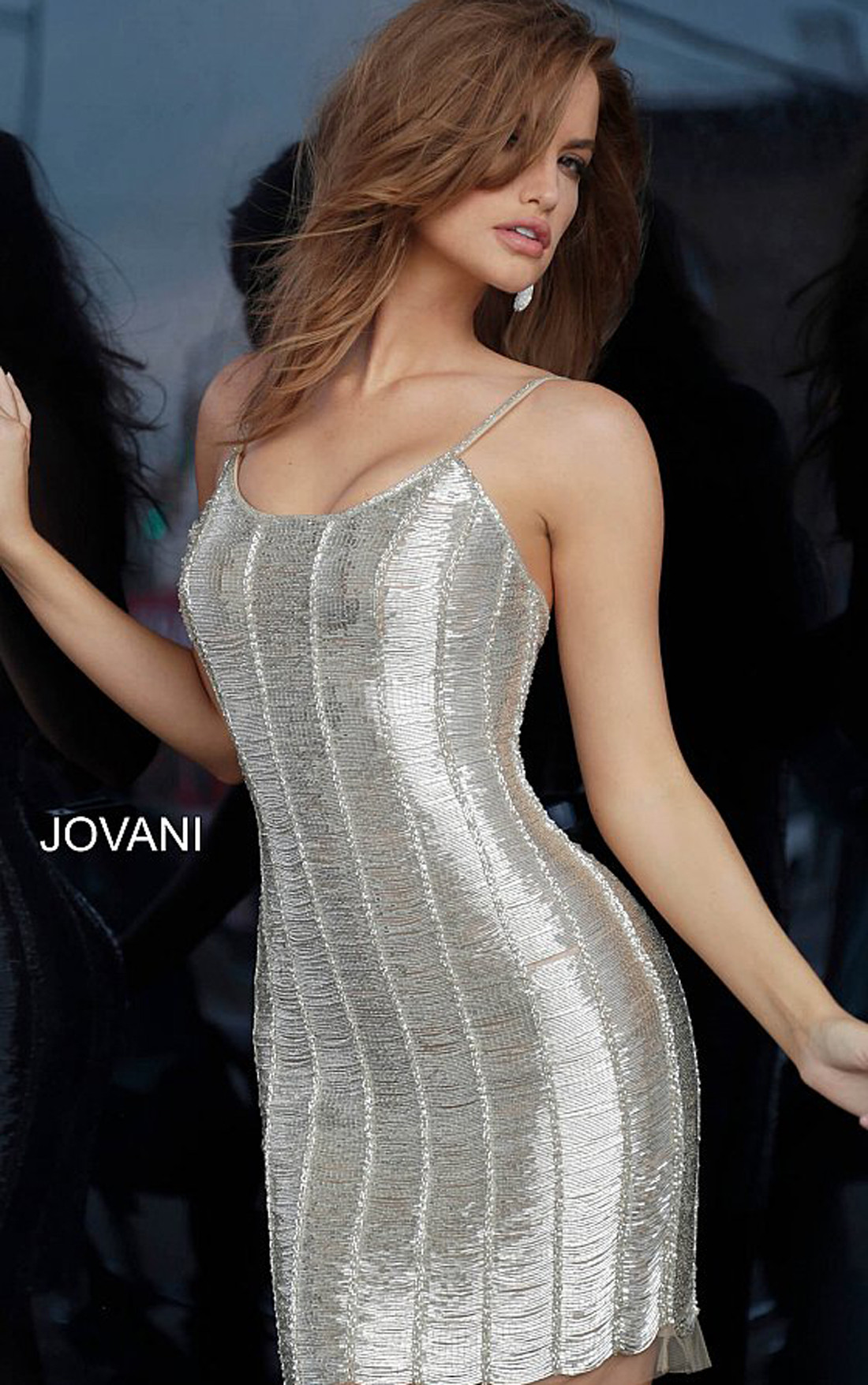 Jovani - Nude Beaded Cocktail Dress (1861)