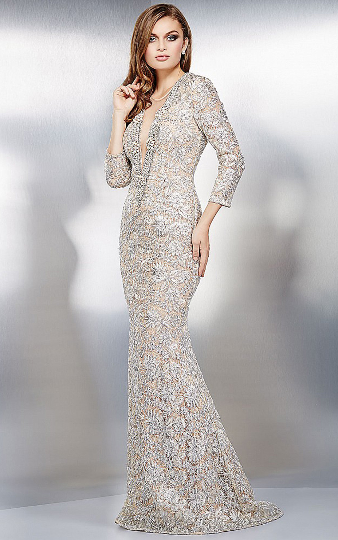 Jovani Dresses Womens Silver And Nude Long Sleeve Lace