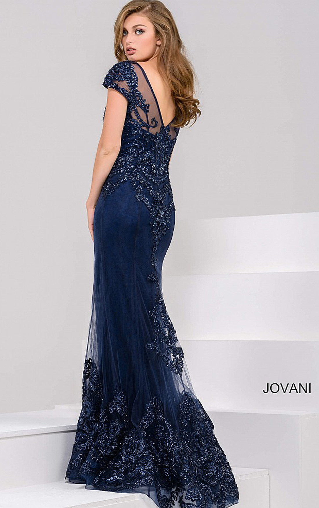 Jovani - Navy Embellished Cap Sleeves Sheer Neckline Dress (39483)