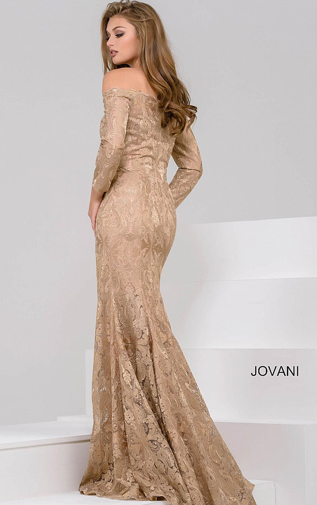 Jovani - Gold Bardot Dress (40945)