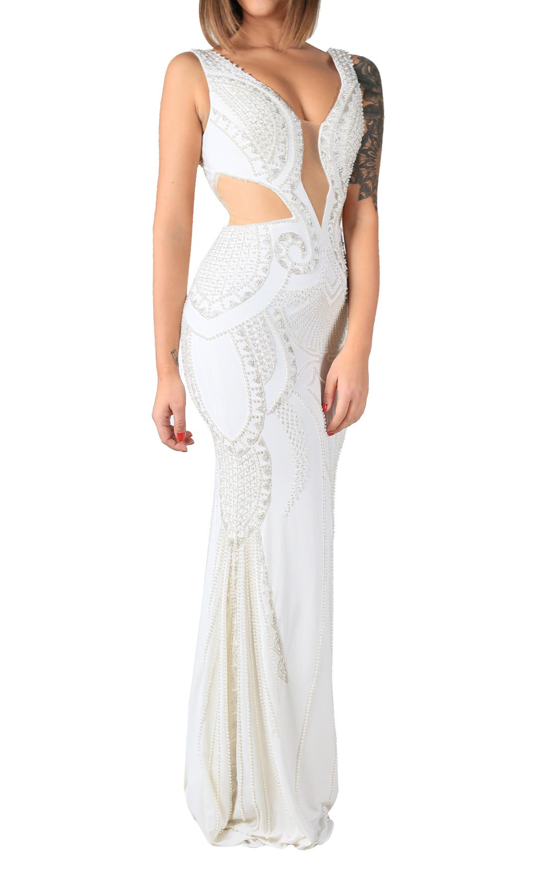 Jovani - Ivory Embellished Sleeveless Dress (41301)