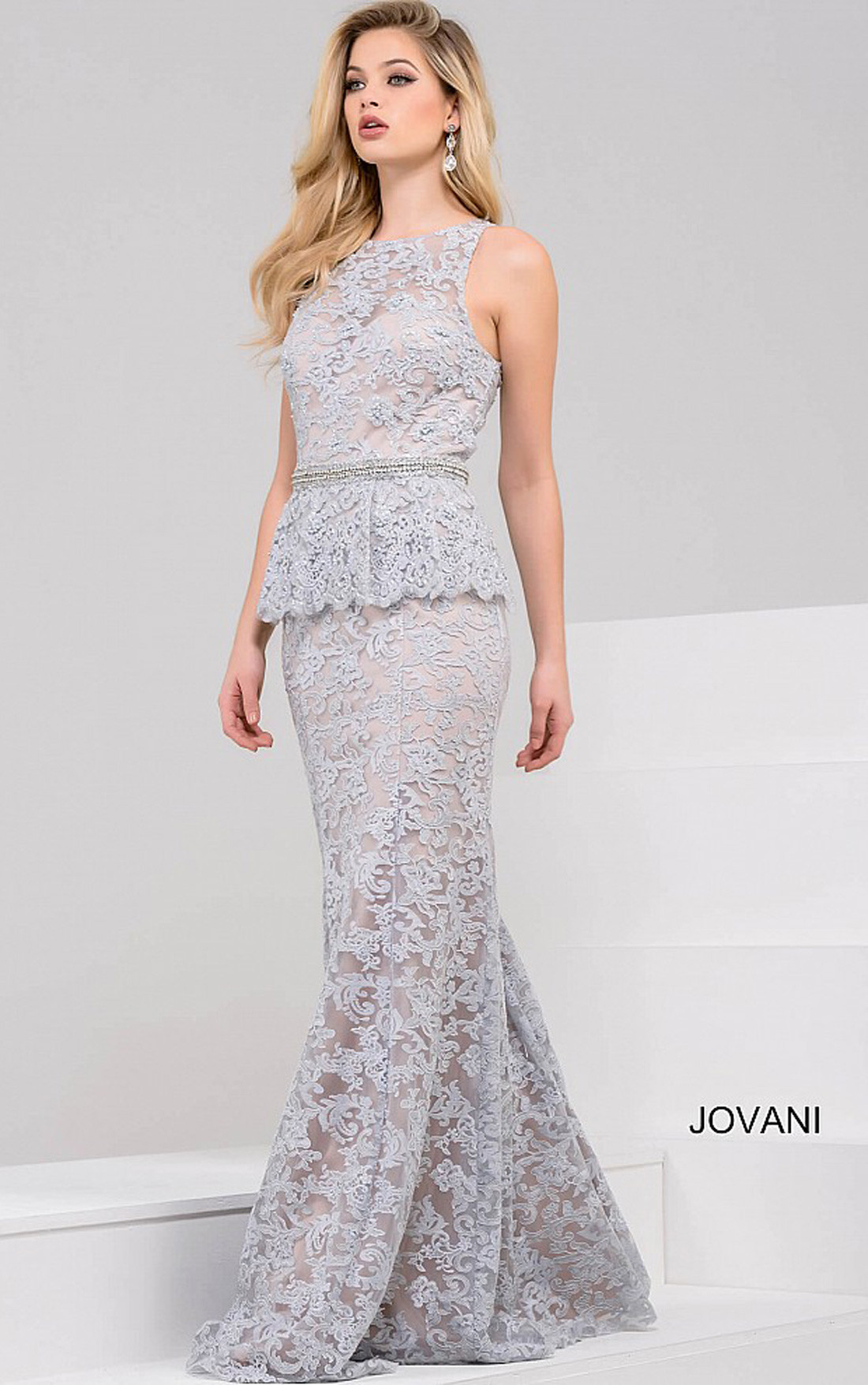 Jovani - Blue Sleeveless Peplum Mermaid Dress (41963)