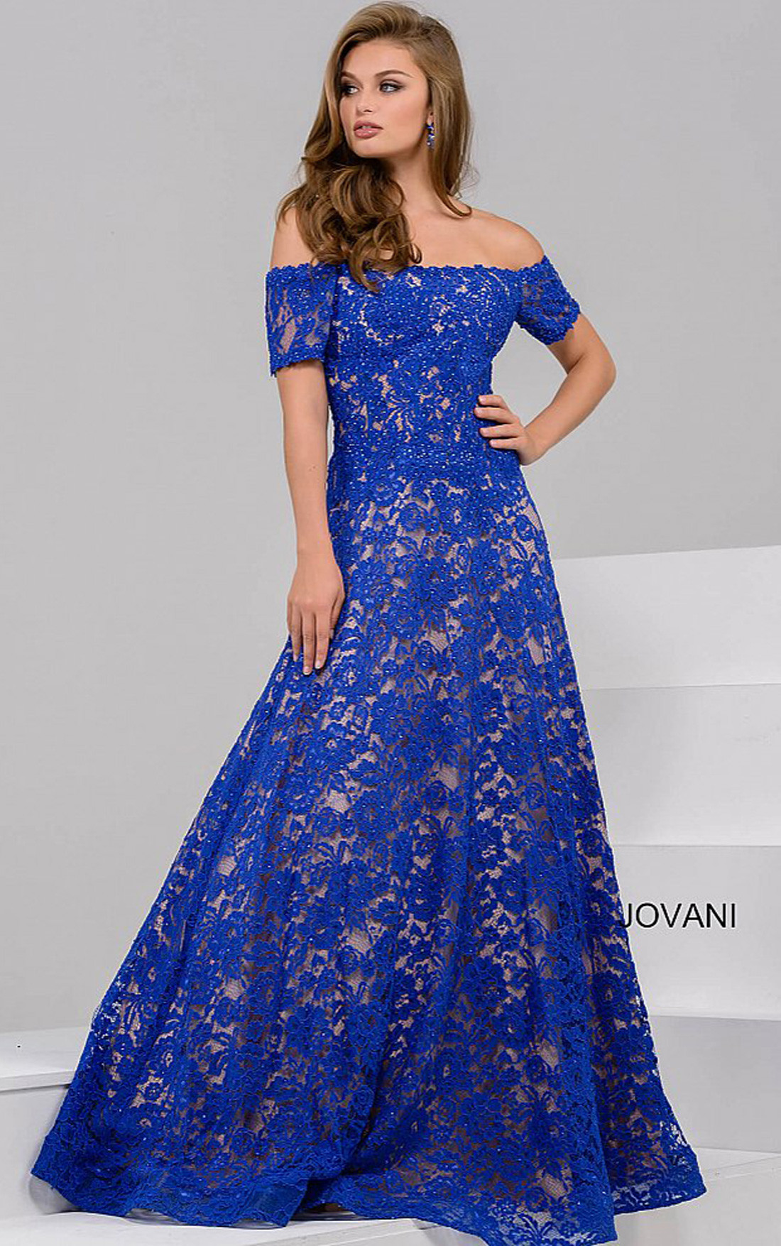 Jovani - Royal Blue Off The Shoulder Lace Ballgown (42828)