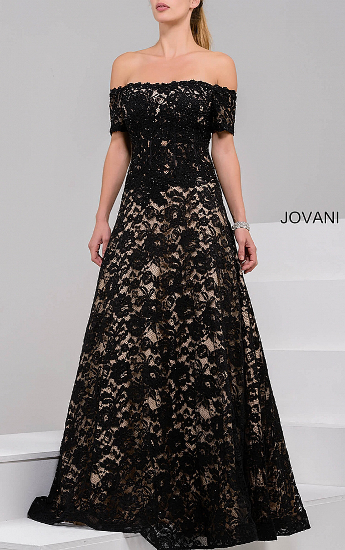 Jovani - Black Off The Shoulder Lace Ballgown (42828)