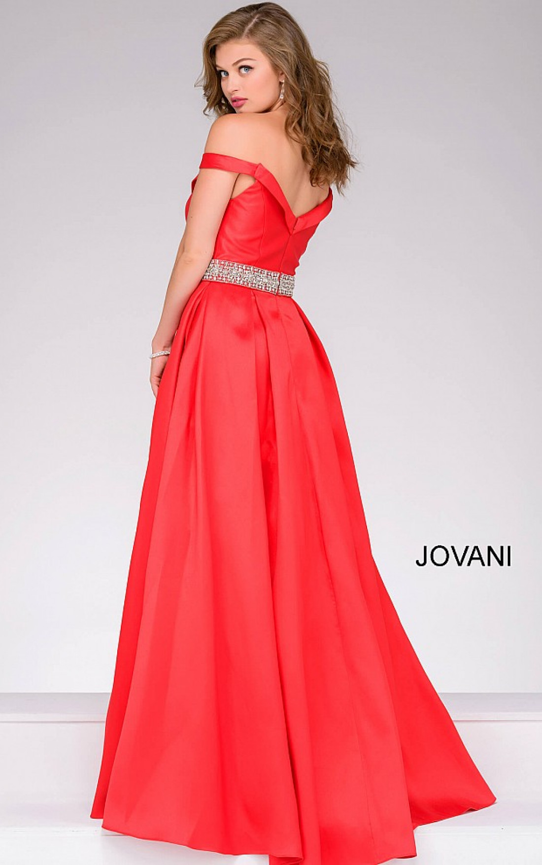 Jovani - Red Off the Shoulder Ballgown (45135)