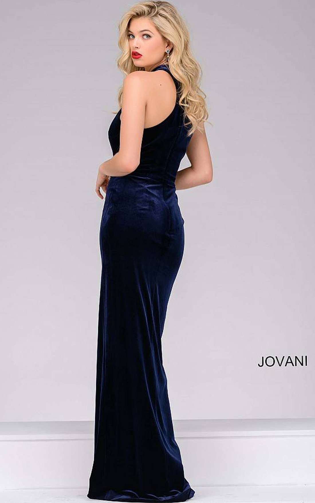 Jovani - Navy Velvet Dress with a Satin Over Skirt (45182)